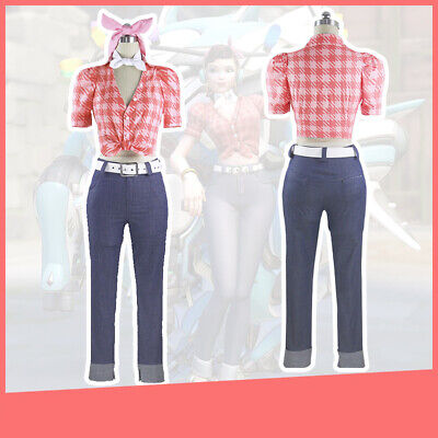 Overwatch OW DVA D.va Anniversary Cruiser Rockabilly Cosplay Costume Full Outfit