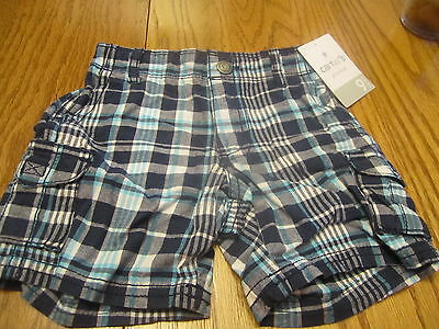 BNWT Baby Boys 3-6 Months Sz 00 Itty Bitty /& Handsome Aqua//White Checked Shorts