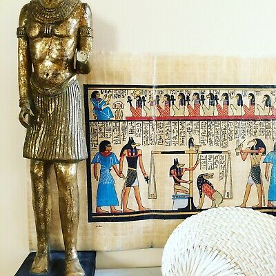 "Hand Painted Egyptian Scene On Papyrus Frameable Art 32"" X 13"""