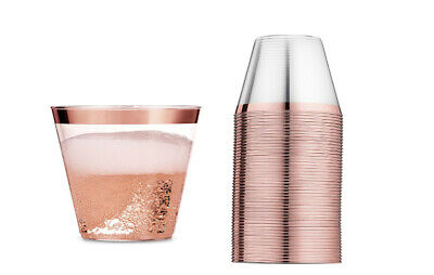 Wedding Party Cups 9 oz Pack of 100 Clear Plastic Disposable Drinkware Rose Gold