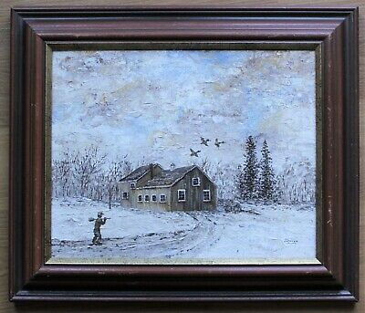 "Vintage Framed Winter Landscape Oil Painting Of Cabin And Man Signed By ""Sheila"""