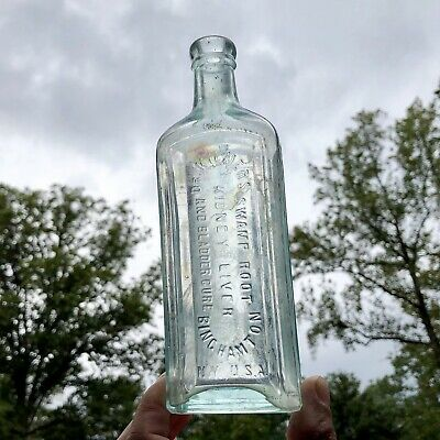 Blown Medicine Bottle Dr Kilmer's Swamp Root Cure Binghamton NY Aqua 1890s