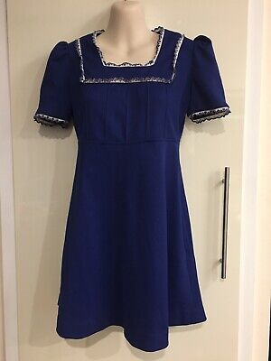 Vintage Retro Girls Blue Dress Size Approx 8-12yr *used Condition Fancy Dress