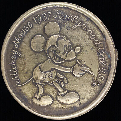 Mickey Mouse 1937 Hollywood California Usa Solid Brass Vintage Belt Buckle