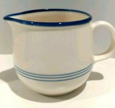 Vintage Ceramic Small Serving Pitcher White with Blue Stripe Numbered