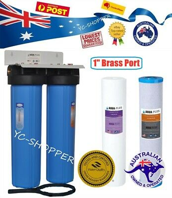 "Twin Big Blue 20""x 4.5"" Whole House Household Water Filter System + Filters"