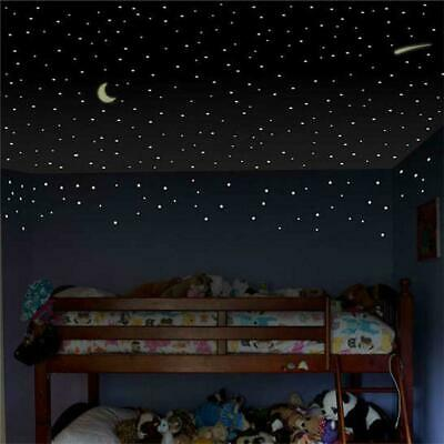 Glow In The Dark Star Stickers Muraux 103 pièces Étoiles Lumineux Lune Enfa E5F9