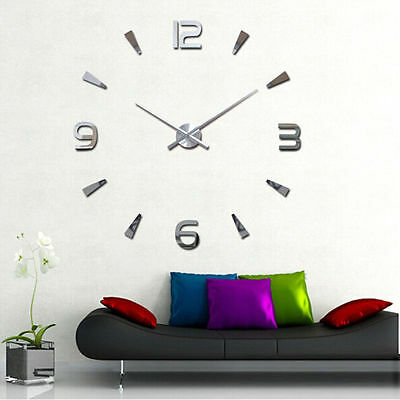 DIY Large Wall Clock Modern House Office 3D Decor stickers Mirror Surface Clocks