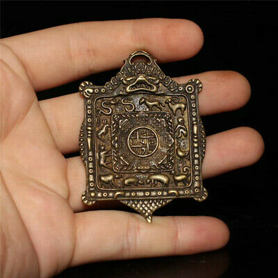 """2.36"""" Collection Chinese pure copper Hand-made 12 Zodiac Eight Diagrams Pendant"""