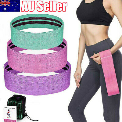 Resistance Booty Bands Set Gym Yoga 3 Hip Circle Loop Workout Exercise Guide Bag