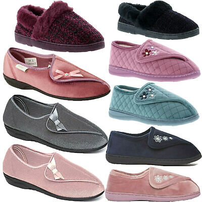 Ladies Womens Wide Fit Open Out Textile Slippers Touch Fastening Comfort Shoes