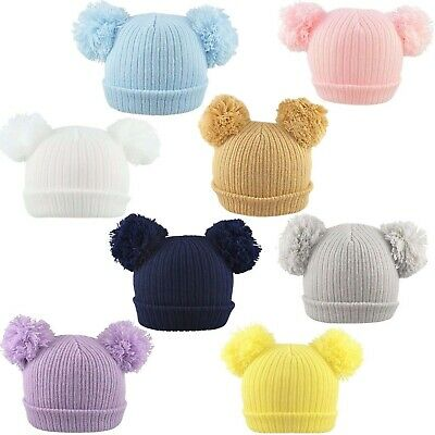 Baby 2 Pom Pom Hat Double Bobble Beanie Knitted Winter Warm Boy Girl Newborn-12M