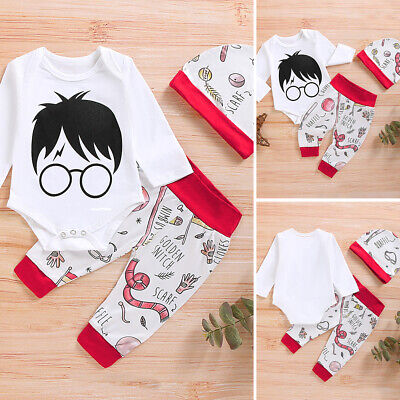 Newborn Infant Baby Boy Girl Harry Potter Outfits Tops Romper Pants Clothes Set