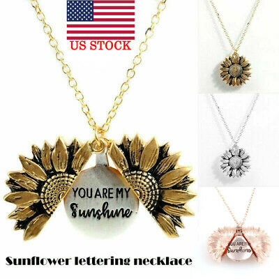 """You Are My Sunshine ""Open Locket Sunflower Fashion Pendant Necklace Women Gifts"