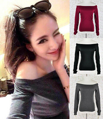 ♡IT♡ Off-shoulder Boat Neck Jersey Knit Tee T-shirt Top Long Sleeves Bodycon