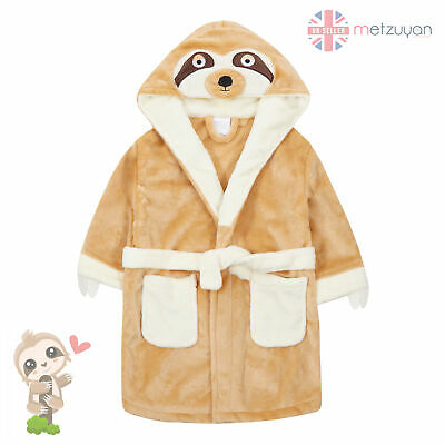 Girls Boys Kids Dressing Gown Robe Sloth Beige Hooded Bathrobe Novelty 2-13 Yrs