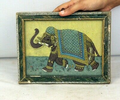 Wooden Framed Ganesha Painting Glass   Collectible Vintage Beautifull- 11389