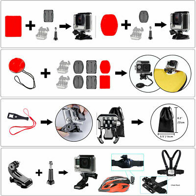 50In1 Outdoor Sports Action Camera Mount Set Accessories for GOPRO Hero 7 6 5 4