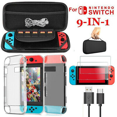 For Nintendo Switch Travel Carry EVA Case Bag + Screen Protector + Charge Cable