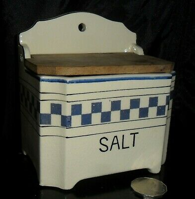 old Blue & white ceramic Salt Box timber lid BERMAC WARE Japan 1960s vgc