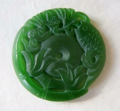 Chinese Carved Green Jade / Hardstone Pendant :Bi Disc with Carp & Bamboo 5 cm