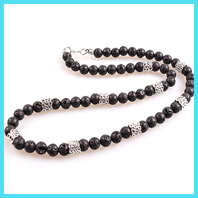 Black Men's pendants Necklace 6MM stone bead with anchor charm pendant necklace