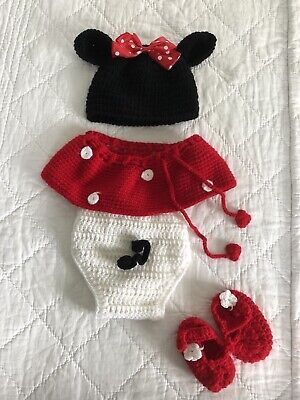 newborn photography props girls Minnie Mouse Knitted Set Photo Shoot Outfit UK