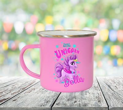 Personalised Little Unicorn Enamel Mugs Girl Gifts Birthday Christmas Gifts