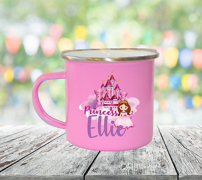 Personalised Princess Name Enamel Mugs Girl Gifts Birthday Christmas Gifts