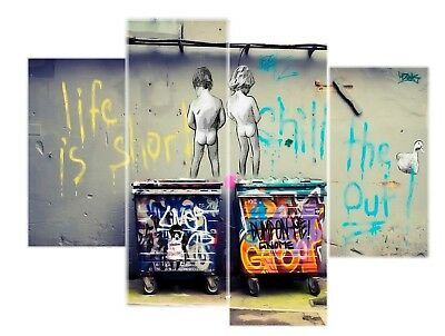 Banksy Life is short kids Art Reprint on FRamed  4 panels Canvas Wall Art Decor