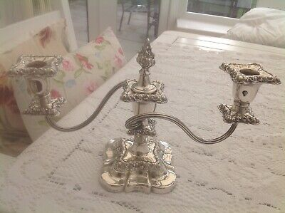 Barker Ellis Silver Plated 3 Arm Candelabra with Flame Snuffer