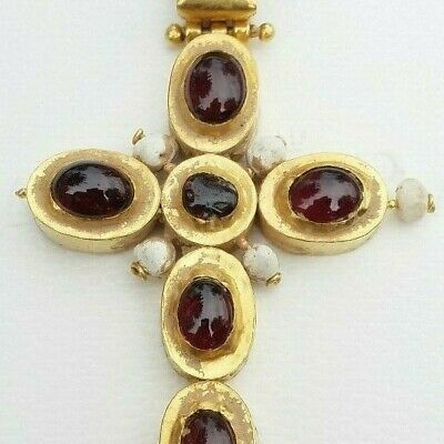 ANCIENT ROMAN / BYZANTINE GOLD GARNET CROSS with natural pearl 2/4th Century AD