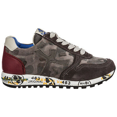 Premiata Boys Shoes Child Sneakers Suede Leather New Mick Grey 6E8