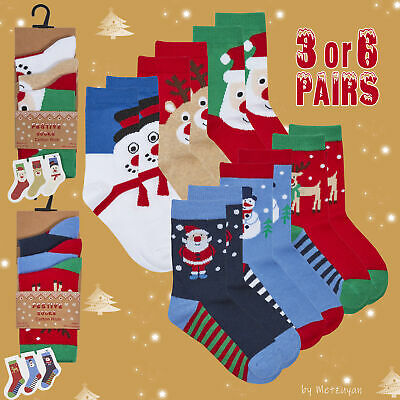 3 or 6 Pairs Kids Childs Xmas Cotton Rich Christmas Socks Size 6-8.5 9-12 12-3