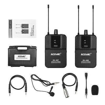 UHF Wireless Lavalier Microphone Lapel Mic for DSLR Camera Camcorder Interview