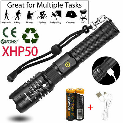 XHP50 900000Lumens Zoomable Tactical SWAT 18650 Flashlight Torch light + Battery