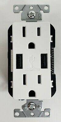 Leviton USB Charger Tamper Resistant Outlet T5632 Smart Chip Technology White