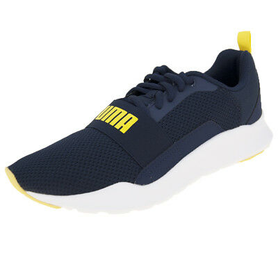 PUMA WIRED JR Peacoat Yellow White Kid Women Running Shoes