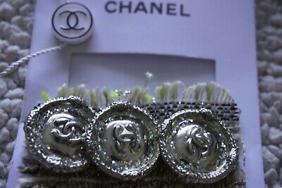 💗CHANEL BUTTONS CC LOGO 1 inch 25 mm Silver TONE METAL  Lot 6 BROOCH