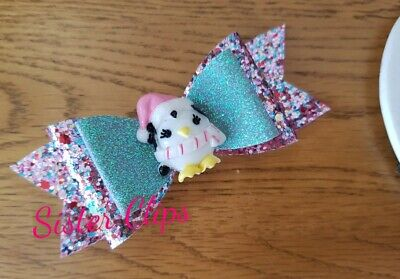 "CHRISTMAS Girls Handmade pink grey mix penguin glitter 4"" bow hair clip"