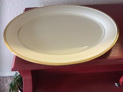 """LENOX ETERNAL Ivory w/ gold trim Large  OVAL PLATTER  16 3/8"""" VERY GOOD COND"""