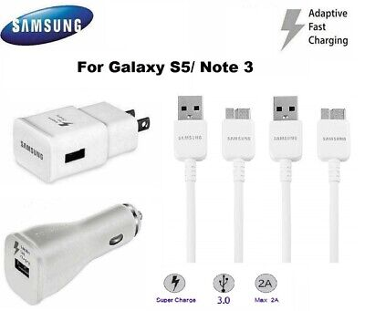 OEM Original Samsung Galaxy Note3 S5 Adaptive Fast Rapid Charger USB 3.0 Cables