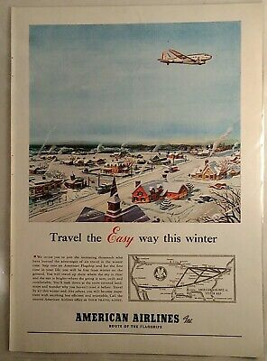 Vintage Print Ad -1940 American Airlines Route of the Flagship Map, Winter Scene