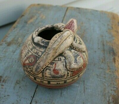 Vintage South American Hand Made Lizard Painted Clay Art Pottery Pot