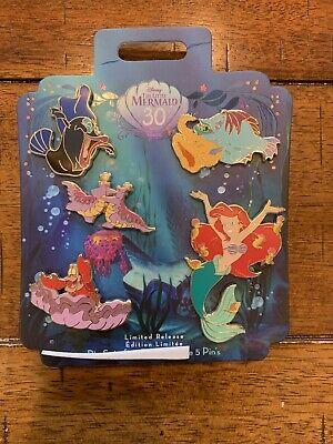Disney Store The Little Mermaid 30th Anniversary 5 Pins Pin Set Ariel Sebastian
