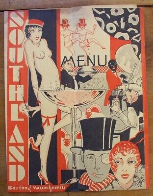 Southland, Boston  Vintage 1930's Menu  Nude