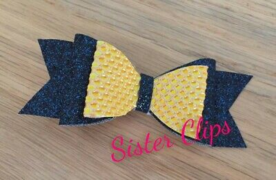 "Girls Handmade navy and mustard glitter 4"" hair bow clip"
