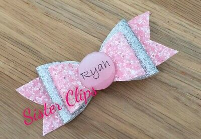 """Girls Handmade personalised ANY NAME pink & silver glitter 4"""" hair bow Gift"""