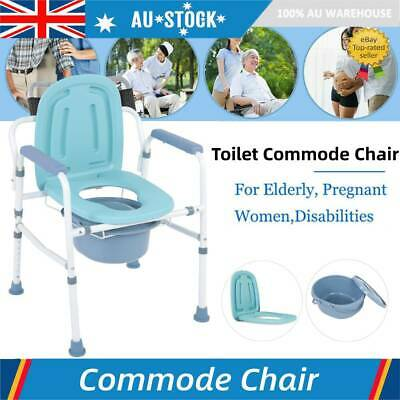 Folding Waterproof Shower Chair Commode Toilet Chair Drop-Arm Commode Chair AU