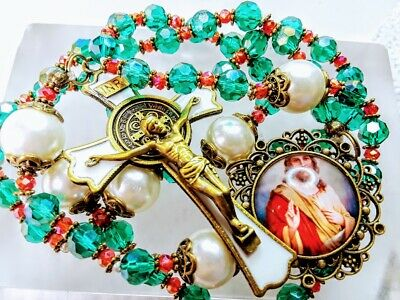 CHRISTMAS ROSARY Emerald Green Crystal White Pearl Jesus Cameo Benedict Rosary